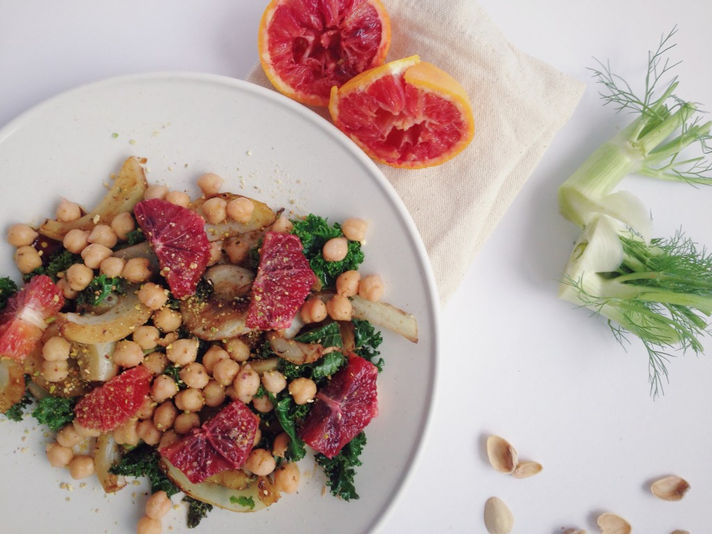 Winter Abundance Salad: All of winter's finest resting on one beautiful plate! This vegan and gluten free delight is full of vitamins and exquisite tastes that will leave you pining for more! Fennel, blood oranges, kale, pistachios, and chickpeas make up this wonderful dish! || fooduzzi.com