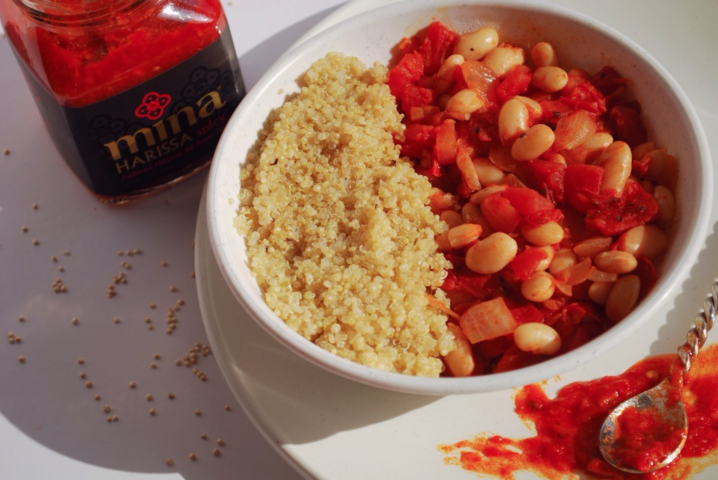 Harissa Beans: A spicy vegan & gluten free meal filled with protein! || fooduzzi.com
