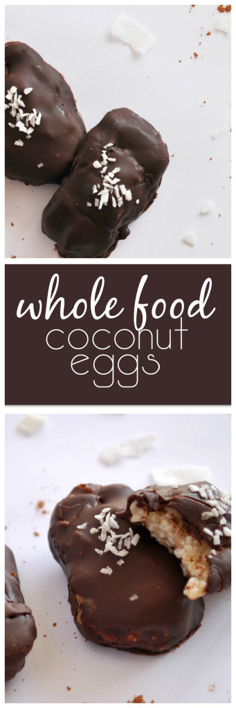 Whole Food Coconut Eggs: A healthier, gluten free, and paleo take on the classic Easter treat! || fooduzzi.com