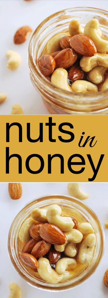Nuts in Honey: A whole food, gluten free, and vegetarian gift with so many uses! Poured on ice cream, swirled through yogurt, or spread on pancakes, these Nuts in Honey are pure perfection! || fooduzzi.com