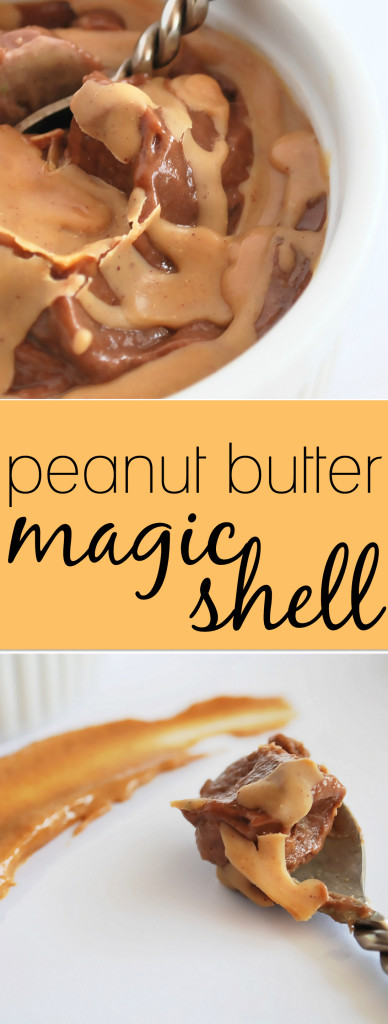 Peanut Butter Magic Shell: This childhood favorite ice cream topper is made with only two whole food, gluten free, and vegan ingredients! Summer never tasted so sweet! || fooduzzi.com