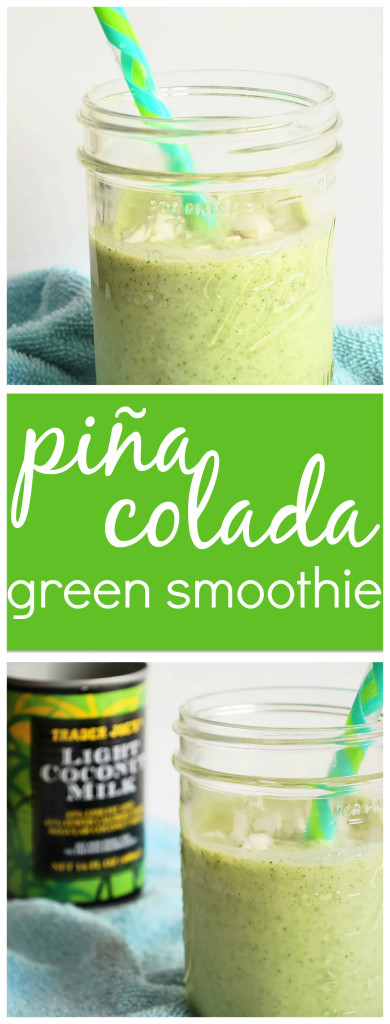 Piña Colada Green Smoothie: Taste the tropics with this nutritious and delicious gluten free & vegan smoothie! It's summer in a glass! || fooduzzi.com