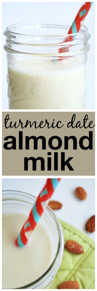 Turmeric Date Almond Milk: Spiked with anti-inflammatory turmeric and sweet dates, this homemade gluten free and vegan almond milk takes just minutes to make! || fooduzzi.com