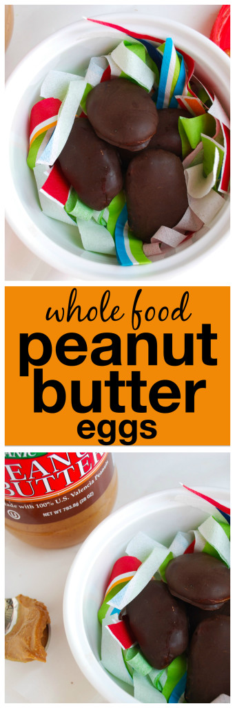Whole Food Peanut Butter Eggs: Gluten free, refined sugar-free and vegan, these Whole Food Peanut Butter Eggs are a healthy play on the classic Easter treat! || fooduzzi.com