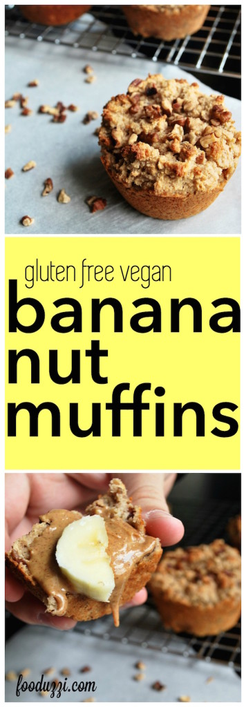 Gluten Free Vegan Banana Nut Muffins || fooduzzi.com recipes