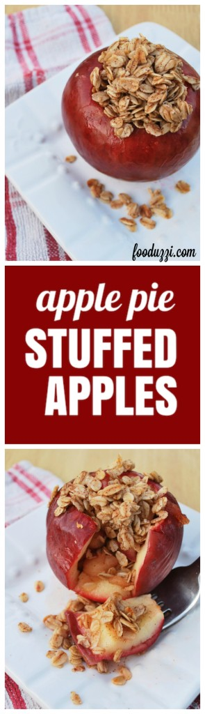 Apple Pie Stuffed Apples: Hello, fall! This 7-ingredient gluten free and vegan treat takes only 20 minutes to whip together! || fooduzzi.com recipes