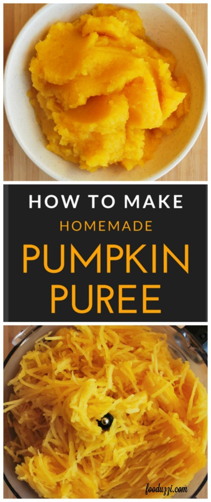 How to Make Homemade Pumpkin Puree: it's easy to make your own pumpkin puree! You'll be amazed with how much more flavor your version has over the canned variety! || fooduzzi.com recipes