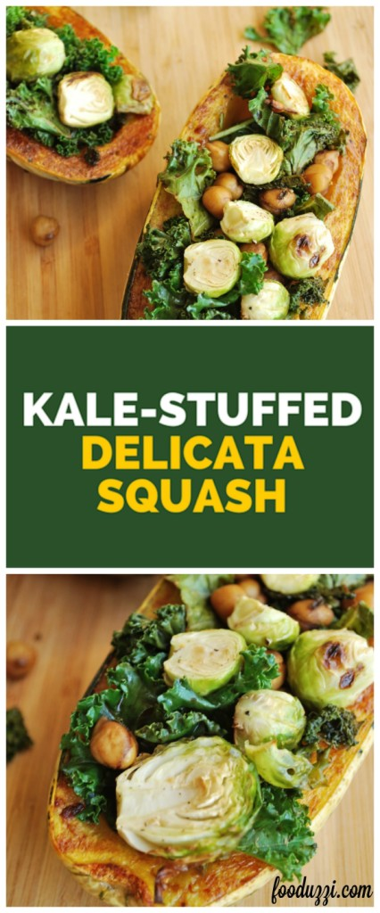 Kale-Stuffed Delicata Squash: a satisfying 20-minute meal that's gluten free and vegan! || fooduzzi.com recipes