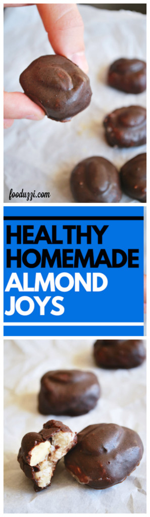 Healthy Homemade Almond Joys: just like the originals...except refined sugar-free, gluten free, and vegan! A healthy Halloween treat, indeed! || fooduzzi.com recipes