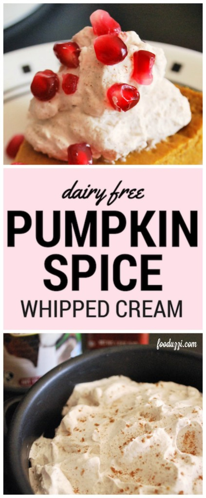 Dairy Free Pumpkin Spice Whipped Cream: A flavorful take on the classic pumpkin pie topper! It's a gluten free, vegan, and healthy whipped cream recipe! || fooduzzi.com recipes