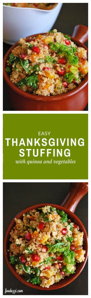 Easy Thanksgiving Stuffing with Quinoa and Vegetables: A simple, gluten free, vegan, and healthy side dish perfect for Thanksgiving! || fooduzzi.com recipes