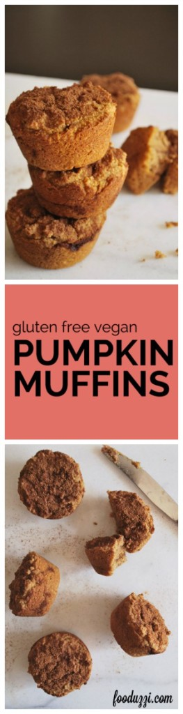 Gluten Free Vegan Pumpkin Muffins: These muffins are packed with wholesome ingredients and fall flavors! They're healthy enough for breakfast, yet decadent enough for dessert! || fooduzzi.com recipes