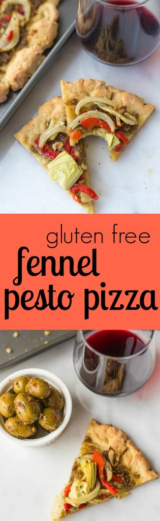 Gluten Free Pesto Pizza: A simple, delicious homemade pizza made with ingredients like pesto, roasted red peppers, and fennel! || fooduzzi.com recipes