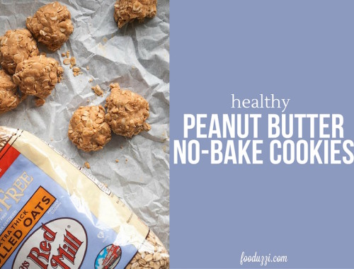 Healthy Peanut Butter No-Bake Cookies: A gluten free, vegan, and refined sugar-free cookie that'll please any crowd! || fooduzzi.com recipes