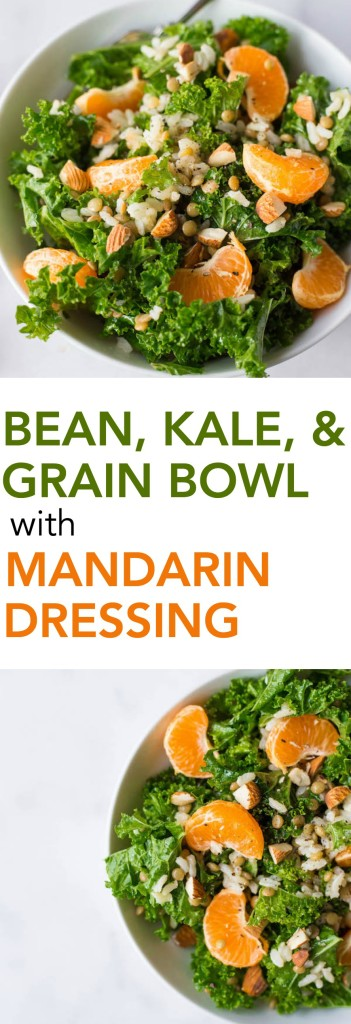 Bean, Kale, and Grain Bowl with Mandarin Dressing: a simple and satisfying 5-minute meal that's gluten free, vegan, healthy, and completely customizable! Mix and match to create your personalized bowl! || fooduzzi.com recipes