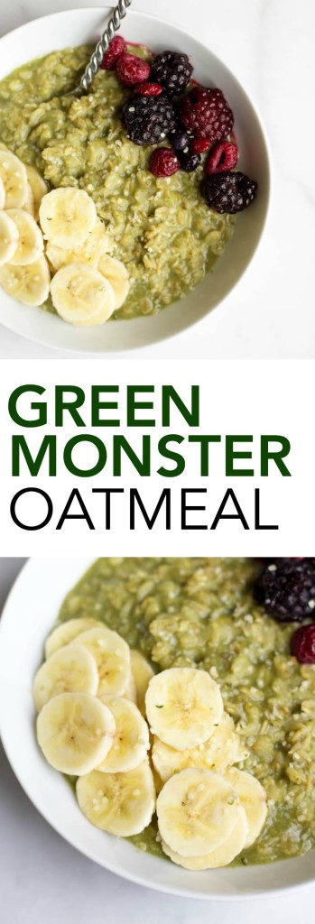 Green Monster Oatmeal: All of the ingredients from your favorite healthy smoothie mixed into a warm, comforting bowl of oatmeal! It's the perfect vegan, gluten free, and healthy breakfast! || fooduzzi.com recipes