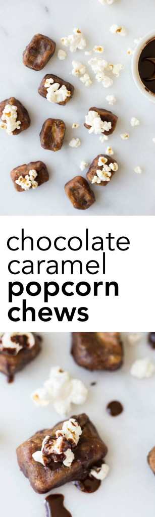 Chocolate Caramel Popcorn Chews: salty, sweet, gooey, and crunchy, these gluten free and vegan candies are simple and delicious! || fooduzzi.com recipe