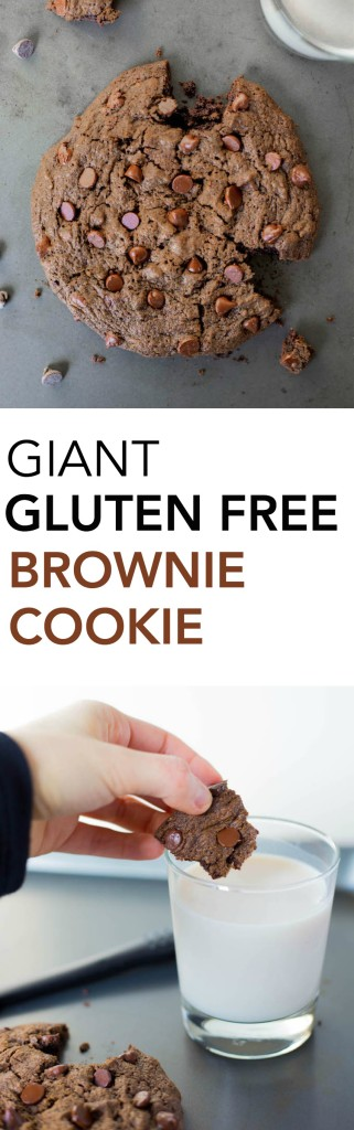 Giant Gluten Free Brownie Cookie for Two: A seriously rich and decadent chocolate cookie that tastes like a brownie! It's vegan, healthy, and perfectly portioned for two! Great for date night! || fooduzzi.com recipe