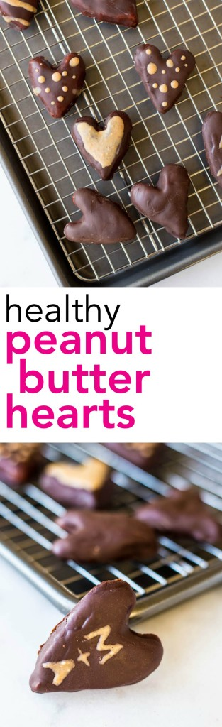 Healthy Peanut Butter Hearts: a vegan, gluten free, and healthy version of Reese's peanut butter hearts! Requires only 5 ingredients and perfect for Valentine's Day! || fooduzzi.com recipes