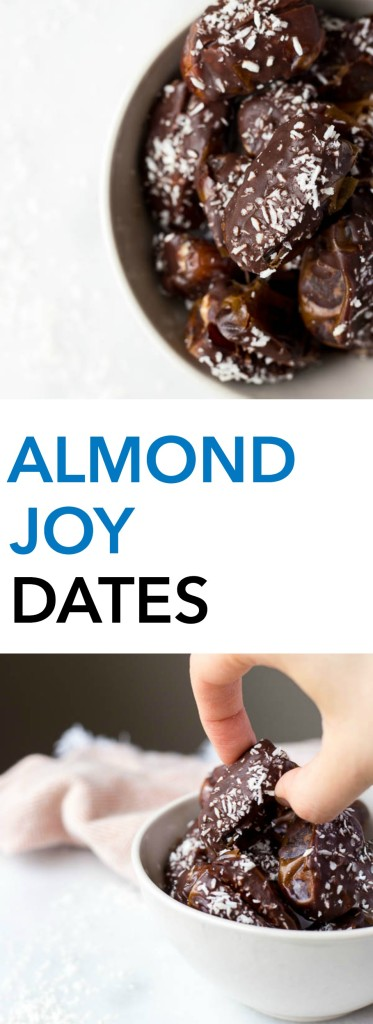 Almond Joy Dates: made with healthy ingredients like almond butter, unsweetened coconut, and a homemade chocolate sauce! These gluten free and vegan treats are the perfect summer snack or dessert, and they require only 6 ingredients! || fooduzzi.com recipe