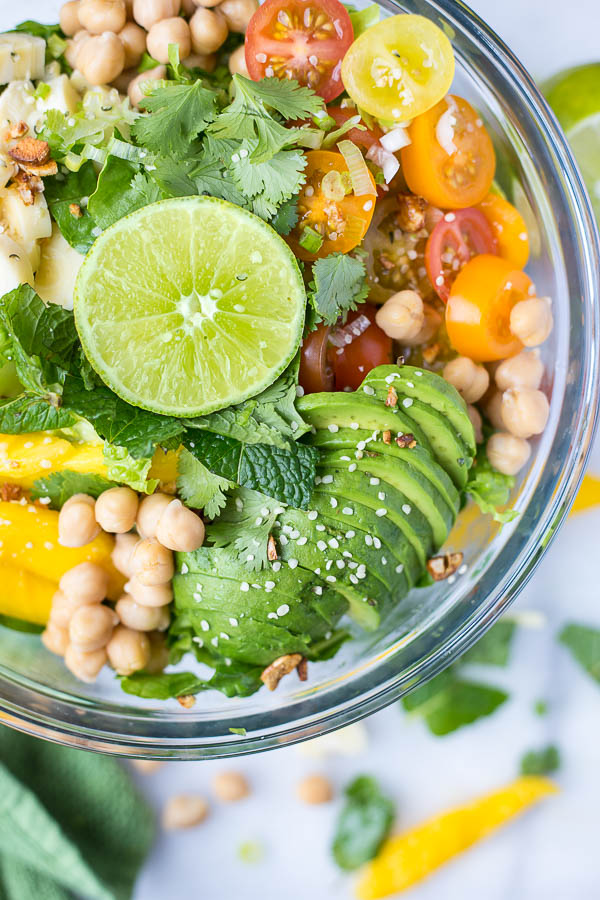 Caribbean rainbow salad fooduzzi caribbean rainbow salad topped with all kinds of fruits vegetables proteins and forumfinder Gallery