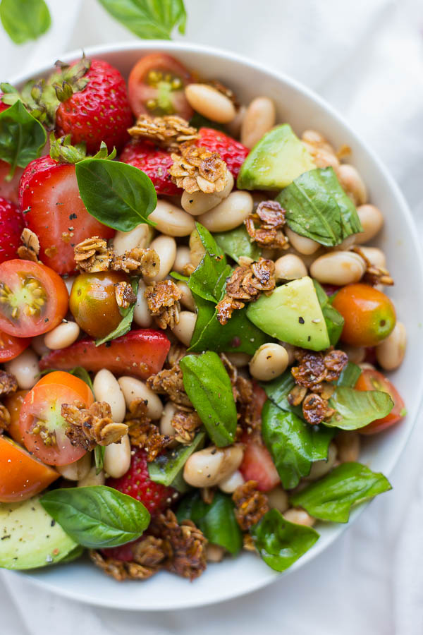 Strawberry White Bean Caprese Salad with Honey Black Pepper Granola