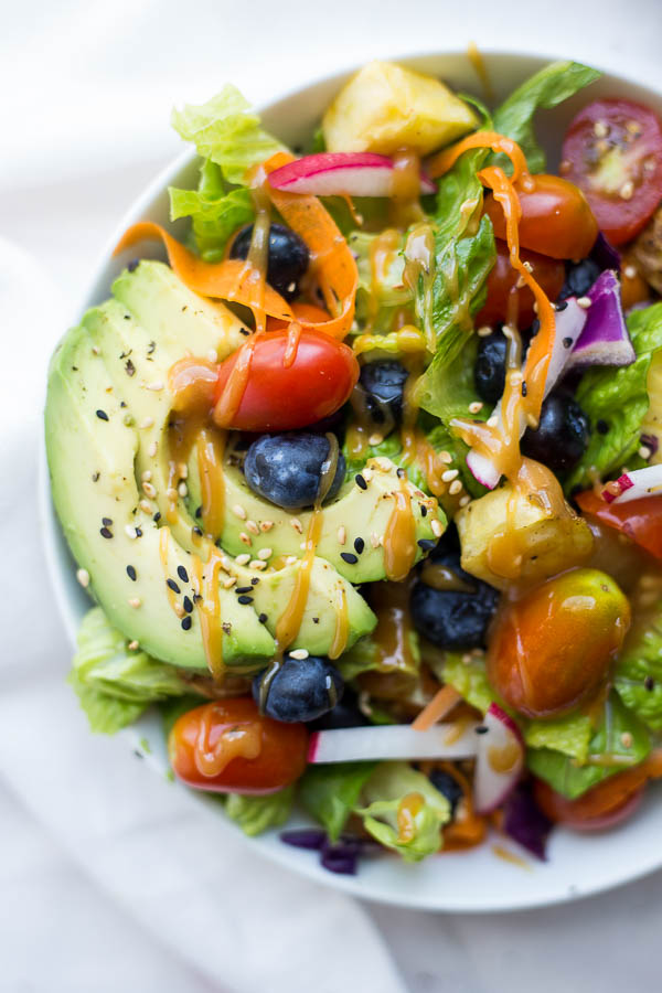 The Big Vegan Rainbow Bowl with Maple Almond Butter Dressing