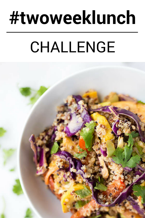 #twoweeklunch Challenge: A lunch challenge designed to show you that packing a healthy lunch for work or school will fuel your day and save you money! Gluten free, vegetarian, and vegan lunch ideas included! || fooduzzi.com