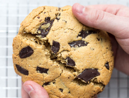 Giant Vegan Chocolate Chip Cookie: A soft and chewy cookie perfectly portioned for one or two! Naturally vegan and gluten free, and ready to eat in just about 20 minutes! || fooduzzi.com recipe