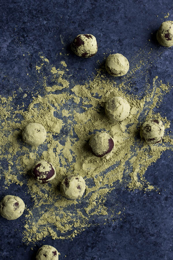 Vegan Matcha Dark Chocolate Truffles