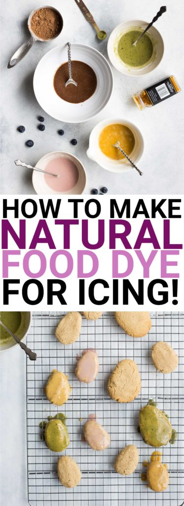 How to Make Natural Food Dye for Icing: gluten free and vegan! Use common household ingredients to dye your icing pink, brown, yellow, and green! || fooduzzi.com recipe