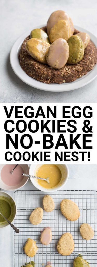 Vegan Egg Cookies + No-Bake Cookie Nest: These vegan egg cookies are the softest sugar cookies EVER. They pair perfectly with an edible no-bake cookie nest, and they're gluten & refined sugar free! The perfect sweet treat for Easter. || fooduzzi.com recipe